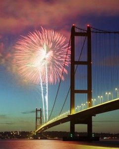 Humber Bridge Fireworks, near Kingston upon Hull, England  is a 2,220 m (2,428 yards) single-span suspension bridge, which opened to traffic on 24 June 1981.