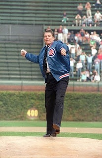 Ronald Reagan throwing out the first pitch at an Iowa Cubs game.  Another interesting fact is that Reagan once announced Cubs game on WHO Radio station in Des Moines Iowa.