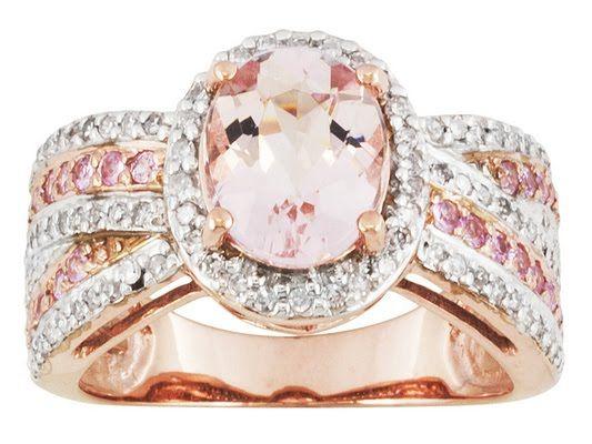 1.43ct Oval Cor-de-rosa Morganite(Tm), .31ctw Pink Sapphire & .31ctw Diamonds 10k Rose Gold Ring