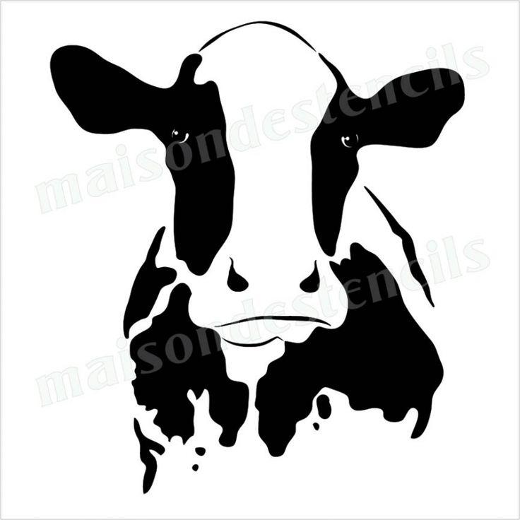 Cow head silhouette 12x12 stencil