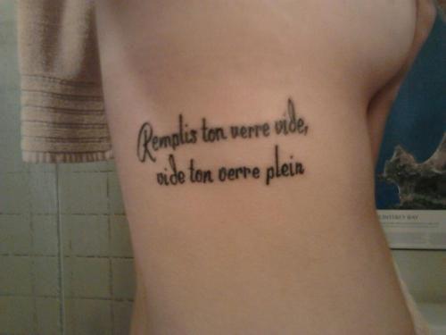 Remplis ton verre vie vide ton verre plein tatouage de for Temporary tattoo tracing paper