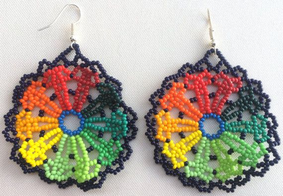 Mexican Huichol Beaded Earrings