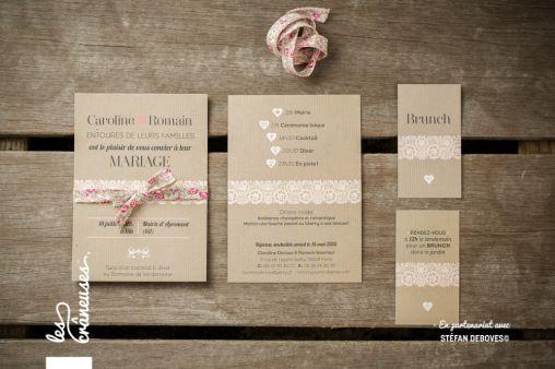 Faire-part de mariage kraft et liberty réalisé par Les crâneuses - Wedding design.