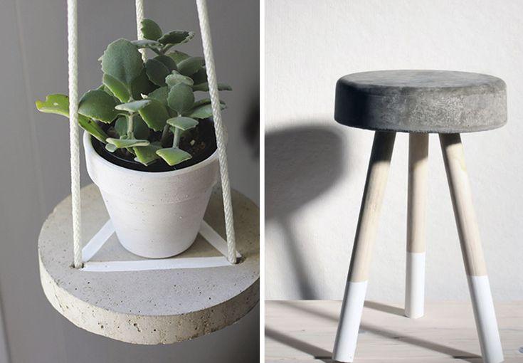 Beton bliver mere og mere populært i indretningen, og det er ikke svært at forstå, hvorfor det rå materiale vinder vores hjerter. Bliv her guidet til, hvordan du kan lave din egen svævende hylde, sofabord og taburet i beton.