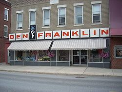 Ben Franklin Stores are a chain of five and dime discount stores found in small towns throughout the United States