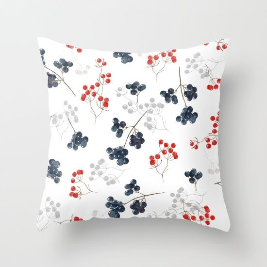 watercolor seamless pattern with branch blue and red Throw Pillow