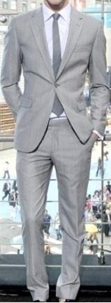Attire: Groom & Groomsmen's Tux - Classic Light Grey Slim Fit Suit
