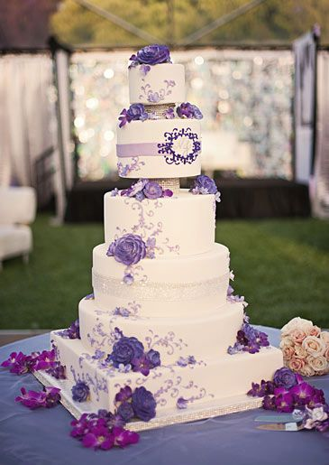 Alice Brans Posted Wedding Cake With Purple Accents And Little Crystal Bling To Their Ideas Postboard Via The Juxtapost Bookmarklet