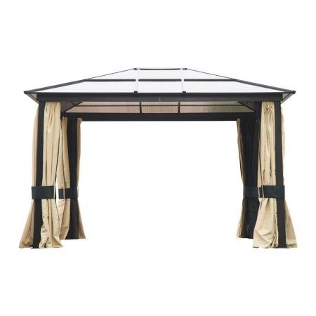 Outsunny 12' x 10' Outdoor Patio Canopy Party Gazebo w/ Mesh and Curtains - Beige