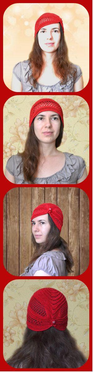 Retro Crochet Hat Cotton Beanie - Red Women's Hat -  Retro Lace Crochet Hat With Bead Decor -  #Retro Party Hat #ItWasYarn