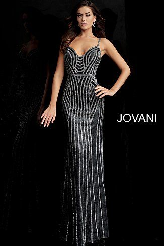 d14b0ea1c5 Gunmetal Silver Beaded Glitter V Back Prom Dress 65978 in 2019 ...