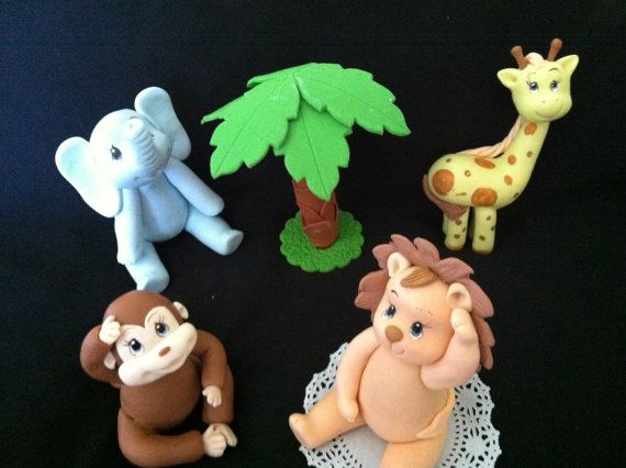 Jungle Cake Topper Decoration set and Jungle Safari cake Topper made of Cold Porcelain  Great for Jungle 1st Birthday Centerpieces and Cakes