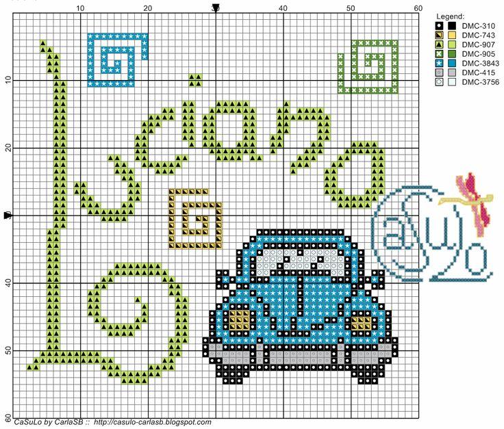 Mais uma sugestão para fralda e babetes, desta vez com o nome Luciano, a pedido da Sónia.  O carro foi retirado do blog MeGustaHAMBEADS.com ...