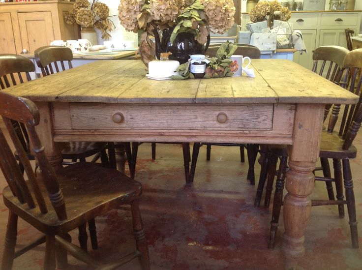 Rustic Square Farmhouse Table For Sale