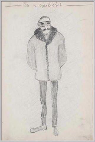 Mario Tozzi 1912: Un Nichilista. Disegno matita e inchiostro - cm.11x17 - Collezione eredi Brunetti-Laderchi Bologna - Archivio n.6 - Catalogo n.1° pag.48.