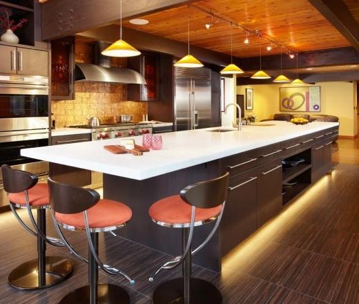 Burnt Orange kitchen, walnut cabinets, $100,000 and over, Martin Tratt
