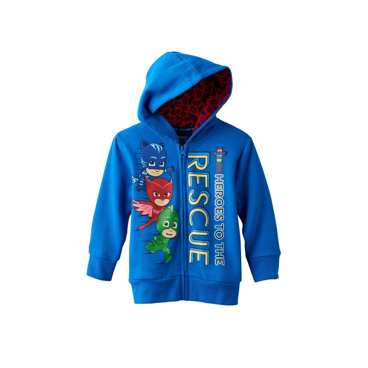 "Toddler Boy PJ Masks ""Heroes to the Rescue"" Catboy, Owlette & Gekko Zip-Up Hoodie, Size: 2T, Blue"