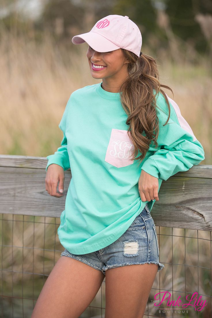 Beachcomber Jersey Vinyl Monogram Mint and Pink - The Pink Lily Boutique