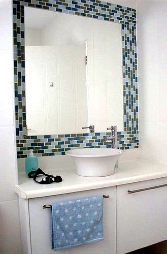 Gallery For Website A Beach Cottage in Namibia Africa Home Tour Bathroom TilingMirror