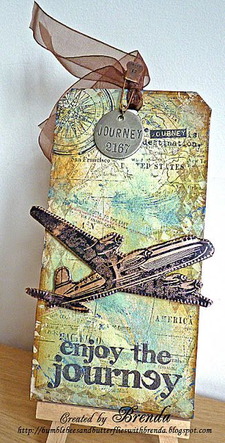 Travel tag - or great embellishment for a travel scrapbook journal or page!!!                                                                                                                                                      More