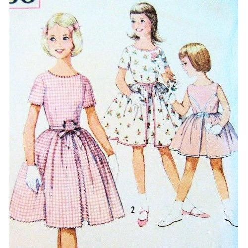 Simplicity 4366 Vintage 60s Rockabilly Pattern Girls Size 4 Waist Dress Flower Girl Party Dress