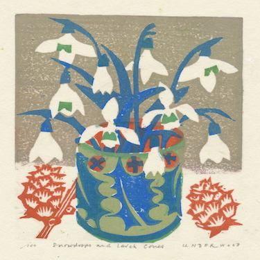 """Snowdrops and larch cones"" by Matt Underwood (woodblock print)"