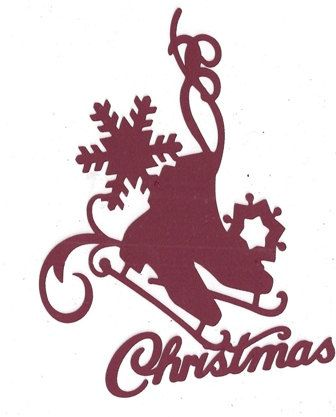 Skates snow Christmas silhouette by hilemanhouse on Etsy, $1.99