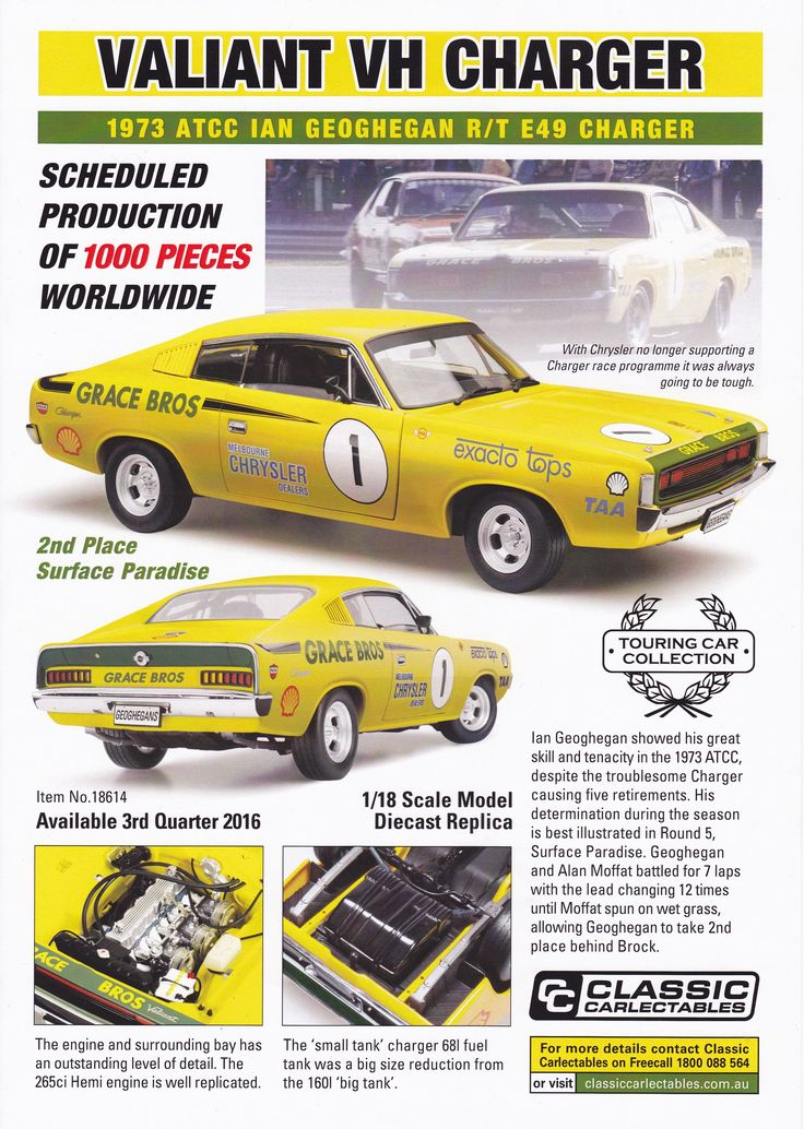 """1:18 scale Ian """"Pete"""" Geoghegan #1 Grace Bros Valiant VH Charger 1973 Australian Touring Car Championship. Model features opening doors, boot and bonnet to reveal detailed engine. Comes with certificate of authenticity. Scheduled Production of 1000. Due the 3rd quarter of 2016"""