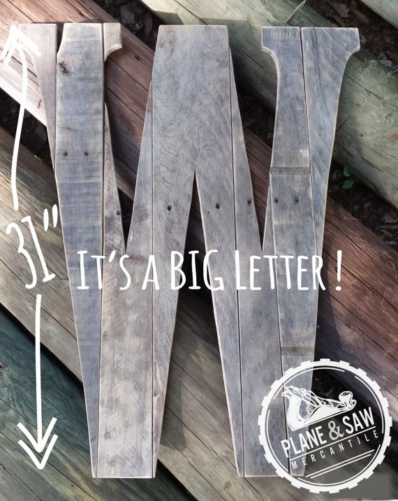 """Rustic Letter W by Plane and Saw Mercantile, creator of the Original"""" Reclaimed Wood Wedding Guestbook Letter  Each rustic salvaged wood letter is"""