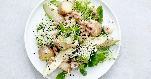 Salade van krieltjes, avocado en grijze garnalen