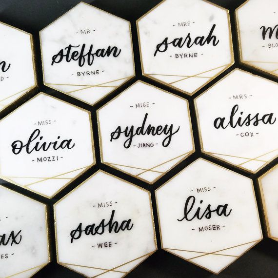 Hexagon Marble Tile Escort Cards with Gold Detail | Carrara White Italian Marble