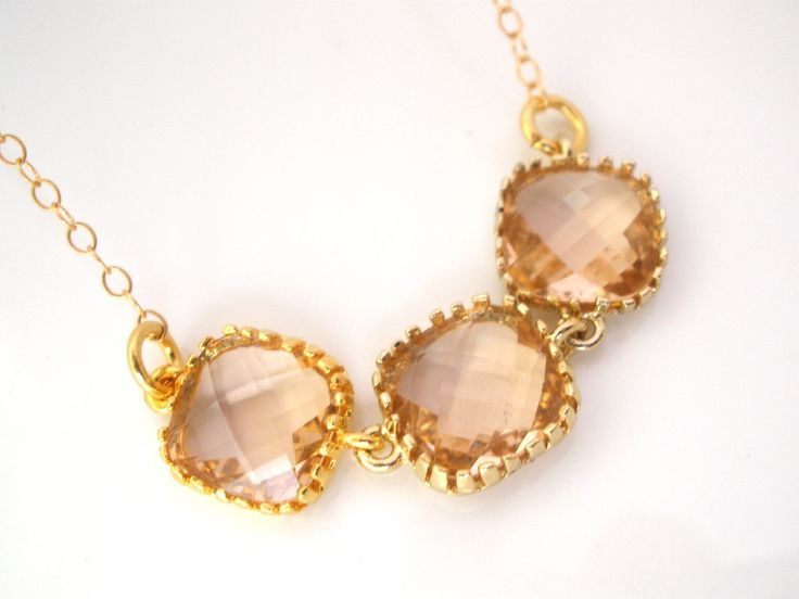 peach and gold and neckless  | Peach Necklace, Gold Champagne Necklace, Beige Necklace, Bridesmaid ...