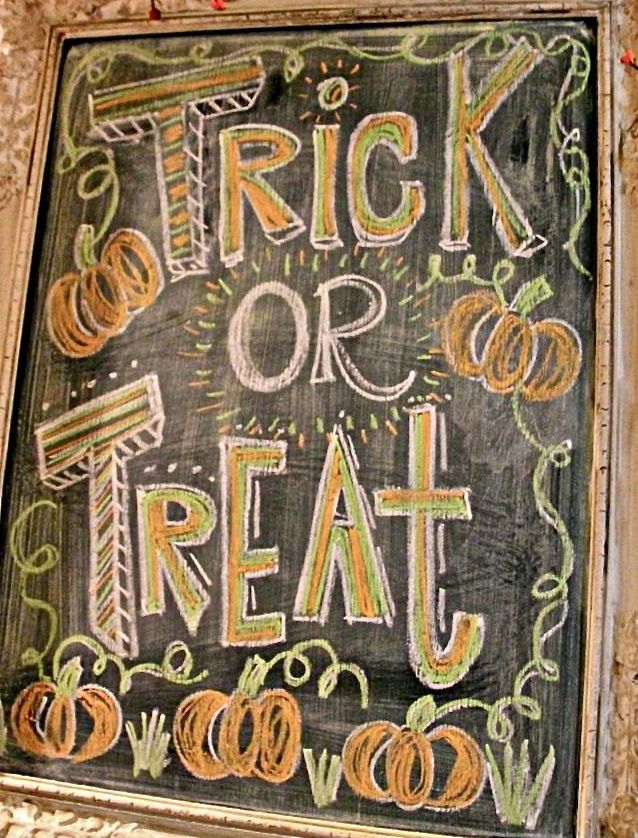 Halloween chalkboard art inspiration. Use Wallies chalkboard vinyl sheets for your chalkboard needs. Cut to any size or shape; completely removable and repositionable. wallies.com