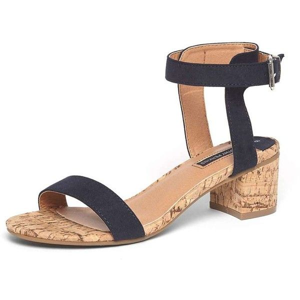 Dorothy Perkins Navy 'Social' Cork Heel Sandals ($49) ❤ liked on Polyvore featuring shoes, sandals, blue, mid-heel sandals, blue sandals, blue strappy sandals, navy strappy sandals and block-heel sandals
