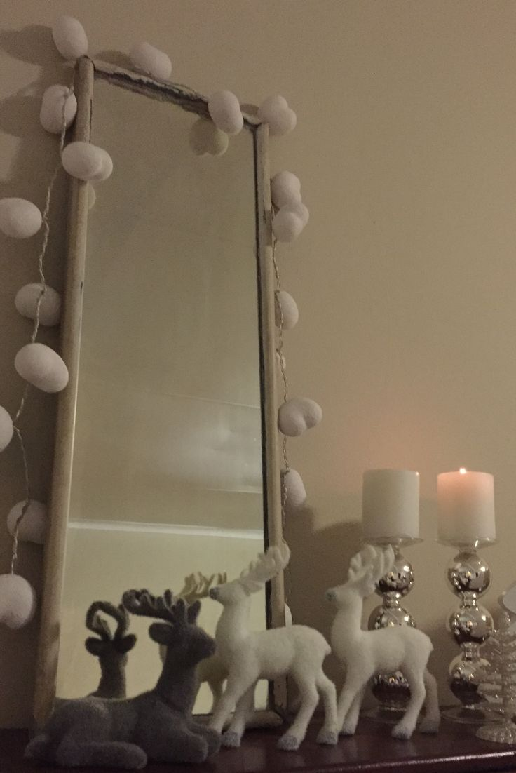 Trading traditional Christmas Lights for White Cotton Ball Hearts @CottonCable