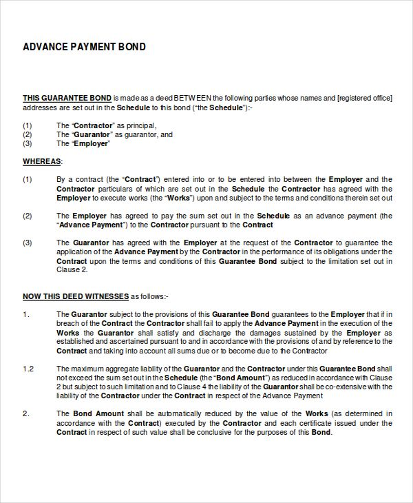 Image Result For Bond Agreement Sample Contract Template Words