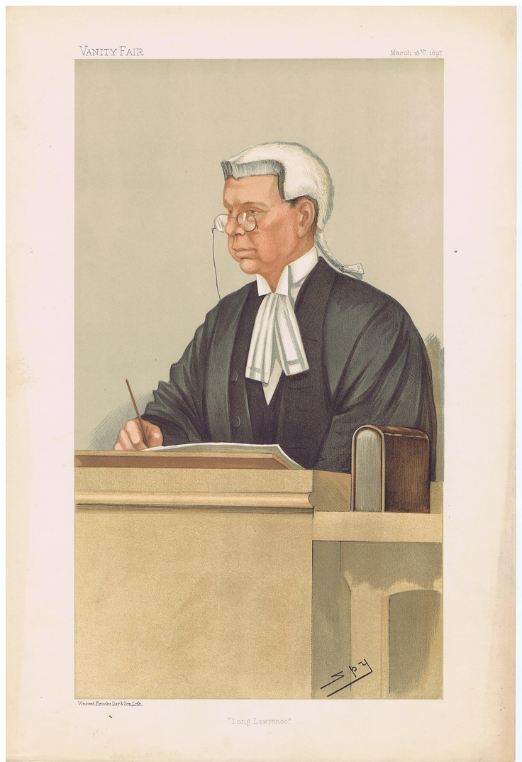 Date: 18-Mar-1897 The Vanity Fair Caricature of Mr. Justice Lawrence With the caption of : Long Lawrence By the artist: SPY Visit www.theakston-thomas.co.uk for many more Vanity Fair Prints, we have one of the largest collections in the world.