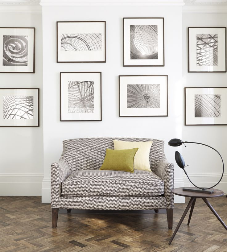 Contemporary grey interior with picture frame feature wall | Brinley Fabric by Romo | Jane Clayton