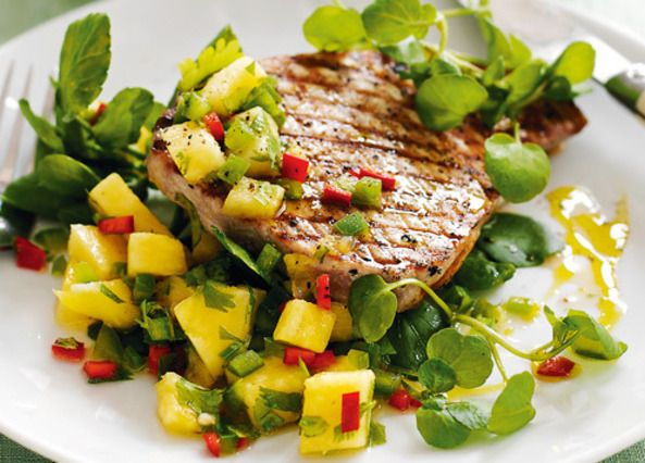 Seared tuna steaks with pineapple salsa recipe: this sweet and spicy salsa goes brilliantly with tuna, but is great with pork chops, too