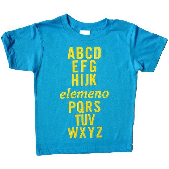 alphabet tee: Boys Size 4 Shirts, Tshirt Kids,  T-Shirt,  Tees Shirts, Elemeno Tees, Kids Funny Shirts, 4T Boys Clothing, Alphabet Tees, Neon Blue