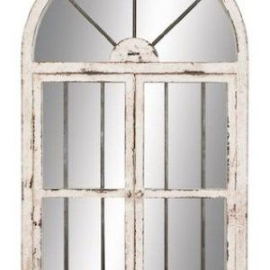 Arched window frame mirror. Similar to fixer upper style mirrors. Farmhouse Bedroom Design. Create a romantic bedroom with this french country farmhouse bedroom decor. Go to theweatheredfox.com to buy farmhouse bedroom products and decor!