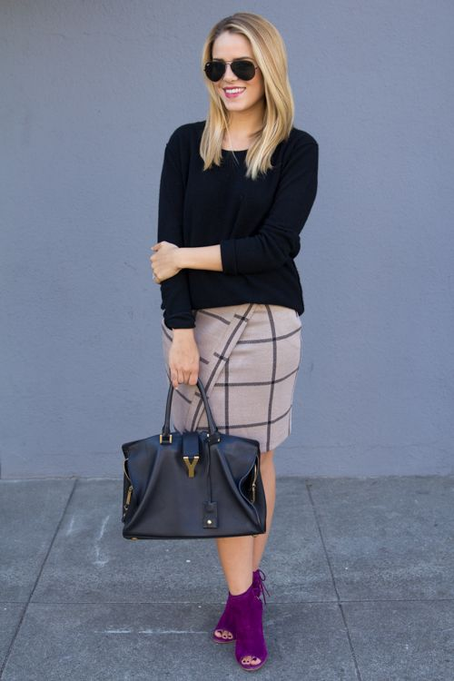 pop of purple and a graphic skirt | via Gal Meets Glam
