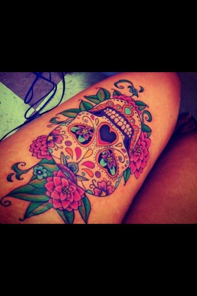 Sugar skull tattoo o m g love other calf tattoo ideas for Skull love tattoos