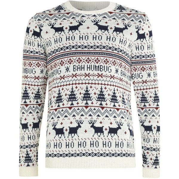 TOPMAN Off White Bah Humbug Christmas Jumper (130 BRL) ❤ liked on Polyvore featuring men's fashion, men's clothing, men's sweaters and mens christmas sweaters