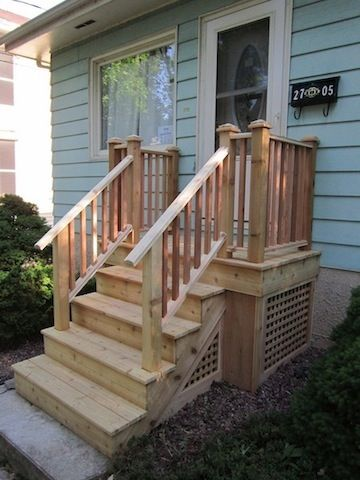 Cedar steps for front door front porch ideas pinterest for Front entry decks