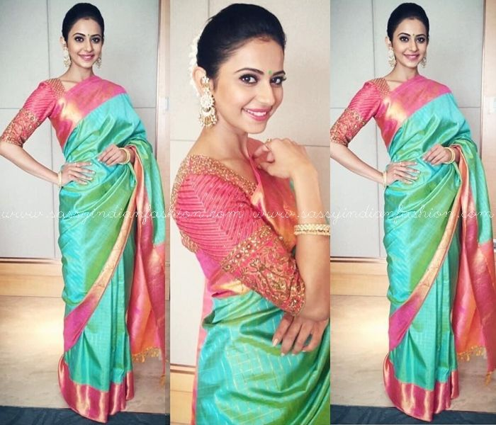 Rakul Preet on Silk Sarees, Celebrity on Green Silk Sarees, Rakul Preet Saree Style, Celebrity Silk Saree