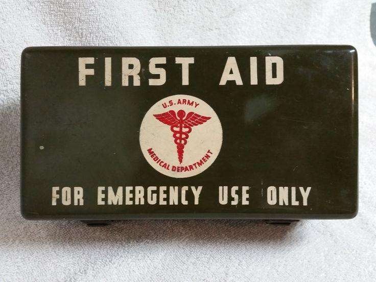 Vintage WWll U.S. Army Medical Emergency First Aid Kit, Empty Metal Box