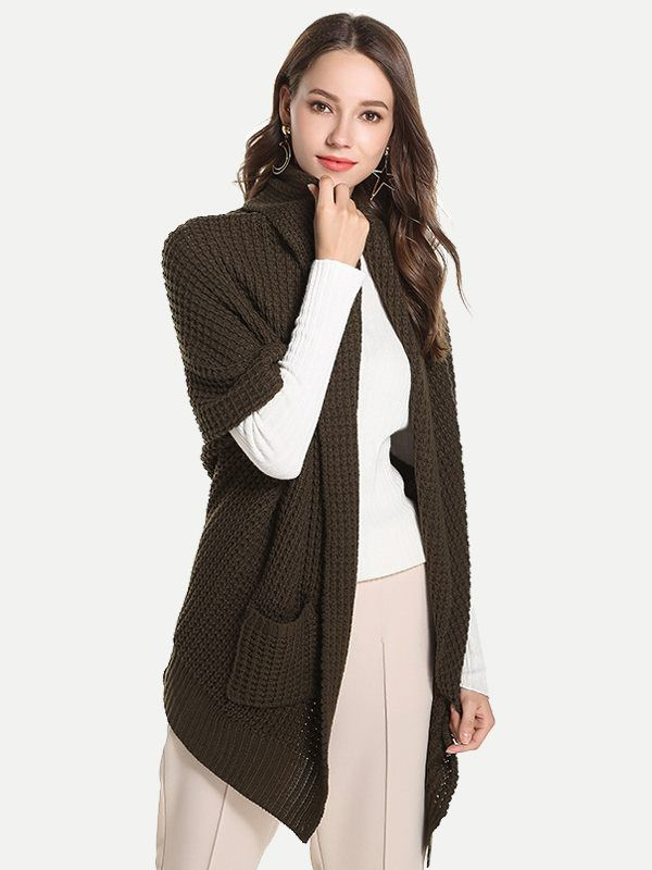 b4504c3c094 Vinfemass Batwing Loose Middle Sleeve Pockets Side Solid Cardigan in 2019