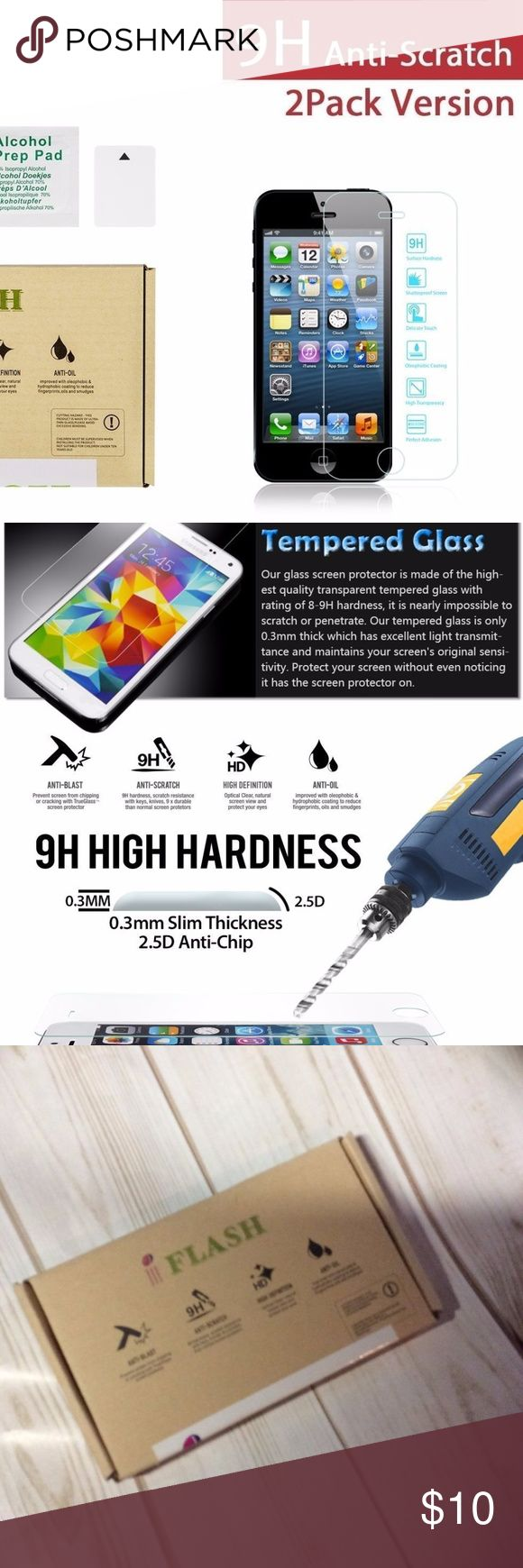 iPhone 5/5S/5C Tempered Glass iFlash® 2 Pack of Premium Tempered Glass Screen Protector For Apple iPhone 5/5S/5C - Protect Your Screen from Scratches and Bubble Free - Maximize Your Resale Value - 99.99% Clarity and Touchscreen Accuracy (2Pack, Retail Package)  box 2 Accessories Phone Cases