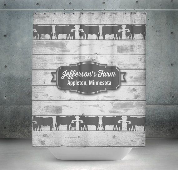 Epic Personalized Cow Shower Curtain Farmhouse Chic by FolkandFunky